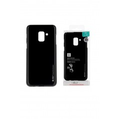 Coque silicone Samsung A6 2018 Noir I-Jelly metal Case