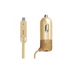 Chargeur Allume Cigare Prise USB + Lightning Or Remax