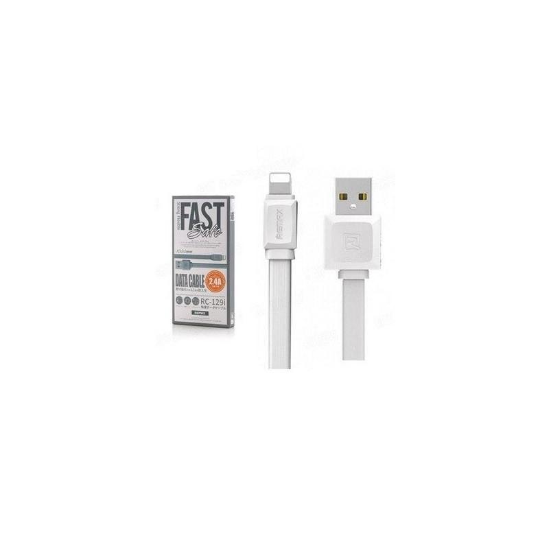 Câble Lightning Remax Fast Pro 2.4A RC-129i en Blanc