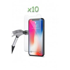Lot 10 verres trempés iPhone X / XS - Transparent