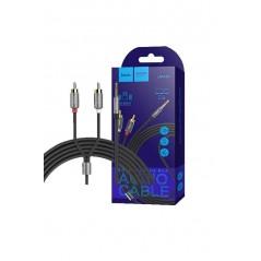 Câble HOCO Double audio AUX UPA 10 avec Micro Gris métal de 1.5 mètre
