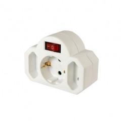 Adaptateur Electrique ARCAS 2+1 Prises avec Interrupteur Blanc