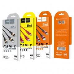 Câble Rouge Hoco lightning+Micro+Type-c X26 Xpress