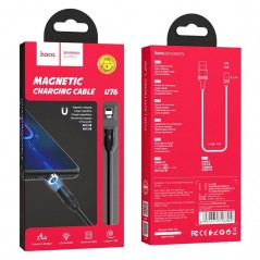 Câble Noir Hoco U76 Magnetic Lightning 1M20