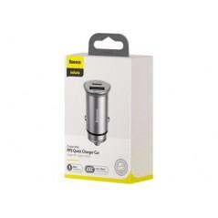 Chargeur Auto Argent Baseus Circular Metal 30W Quick Charger USB et Type-C Avec Support VOOC (CCYS-C0S)