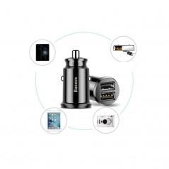Chargeur Auto Baseus Grain 3.1A USB x2 en Noir (CCALL-ML01)