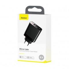 Chargeur Secteur Noir Baseus Mirror Lake Digital Displau USB x4 30W (CCJMHB-B01)