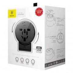 Adaptateur Secteur Universel Noir Baseus Rotation Type USB x2 2.4A pour EU / UK / USA / AUS (ACCHZ-01)