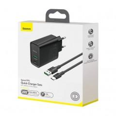 Adaptateur Secteur + câble Type-C 1M Noir Baseus Speed PPS QC3.0 30W USB et Type-C (TZCCFS-H01)
