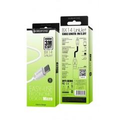 Câble Micro USB 1m Blanc BX14 Borofone