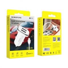Chargeur Auto Double Port USB + Câble Lightning Blanc - 1m - Borofone (BZ12)