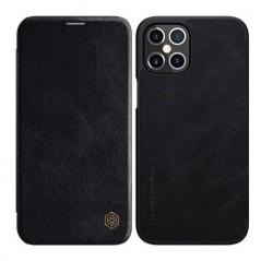 Coque Nillkin Qin en cuir véritable iPhone 12 Pro / iPhone 12 Noire
