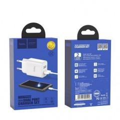 Adaptateur secteur X2 USB + câble Type C Hoco C62A Blanc