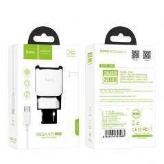 Adaptateur Secteur X2 USB + Câble Type C Hoco C59A Blanc