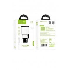 Adaptateur Secteur Hoco C59A X2 USB + Câble Lightning Blanc