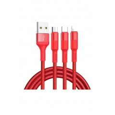 Câble Hoco X26 Rouge 3 en 1 Lightning / Type-C / Micro USB) 1M